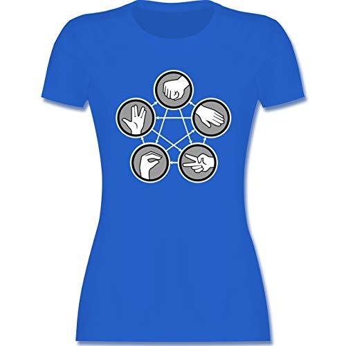 Nerds & Geeks - Rock Paper Scissors Lizard Spock - Schere Stein Papier Echse Spock - M - Royalblau - T-Shirt - L191 - Tailliertes Tshirt für Damen und Frauen T-Shirt