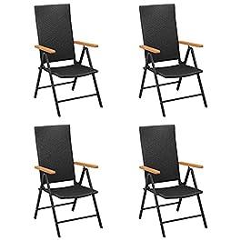 Chaises de Jardin Chaises inclinables 4 pcs Fauteuil Chaise de Salle à Manger Pliante Poly rotin Noir pour terrasse de…