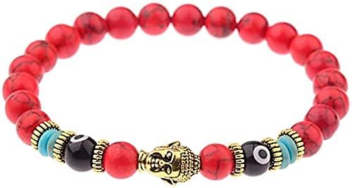 Pulsera china Pulsera hecha a mano Feng Shui Pulsera de piedra Mujer, 7 chakra 8mm perlas de piedra natural de color rojo turquesa Elástico Banco Banco Buddha Joyas de rose Energía de yoga Reiki Charm