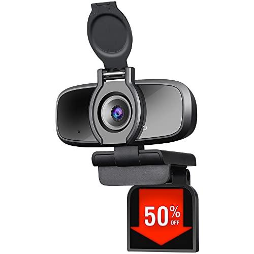 Dericam Webcam, Webcam mit Mikrofon, 1080P HD Streaming USB Computer Webcam für PC-Videokonferenzen, Anrufe, Spiele, Laptop, Desktop Mac, Skype, YouTube, Zoom, Facetime