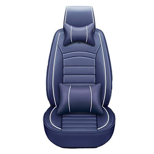 J'slife Cojín para automóvil 5 Asientos La versión Comfort Incluye 2 Almohadas de Cuello 2 Almohadas Cojín de Cuero Artificial Todo Incluido Asientos de automóvil Delanteros y Traseros (Color : Azul)