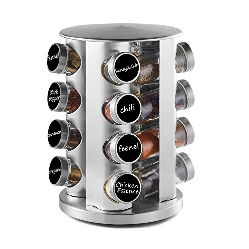 DEFWAY Spice Rack Organizer for Countertop - Stainless Steel Spice Organizer with 16 Seasoning Jars Large Standing Cabinet Seasoning Tower for Kitchen Round