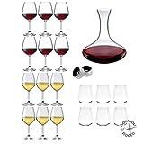 Rocco Bormioli - Servizio 6 Persone, Set 21 Pz Calici Vino Bianco E Rosso DIVINO + 6 Bicch...