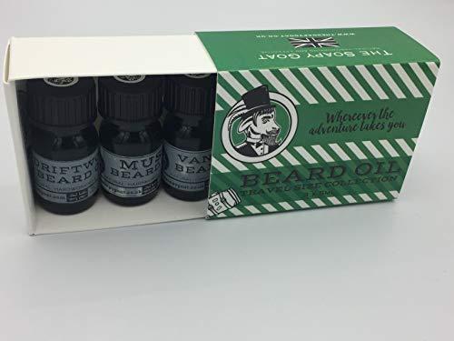 Coffret de voyage à l'huile de barbe comprenant 3 huiles de rhubarbe avec concombre, lavande et cuir