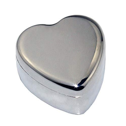 NEHARO Cajas de joyería Joyería en Forma de corazón de Zinc joyería de la aleación del Metal del Anillo Caja de la joyería Simple Caja Los organizadores de la joyería (Color : Silver, Size : 4x4x2cm)