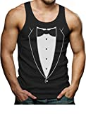 Printed Tuxedo with Bowtie Suit Tank Top Funny Tux Singlet Large Black