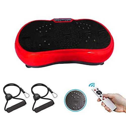GoFun Vibrationsplatte-Powerplate Trainingsgerät fü Ganzkörper-Workout Vibrationstrainer für zu Hause mit 2 Expandern und Fernbedingung-200W, Perfekt für Fettverbrennung (Rot/Schwarz)
