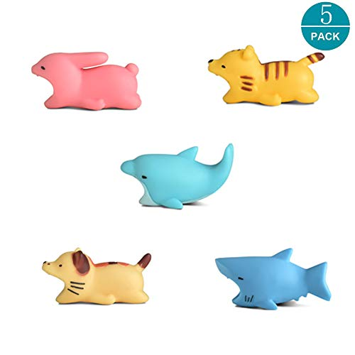 Newseego Cable Compatible de los Cables del Protector del Cable del ahorrador del Cargador del Cable de los Protectores del iPhone - Paquete de 5 (Gato, Conejo, Tiburón, Tigre, Delfín)