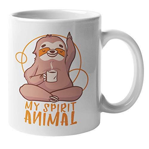 Spirit Animal Faultier Geschenkidee Tasse Für Yoga Liebhaber   Kaffee Tasse Anti Stress Mit Humor   Sprirituelles Faultier Orakel Kaffeebecher