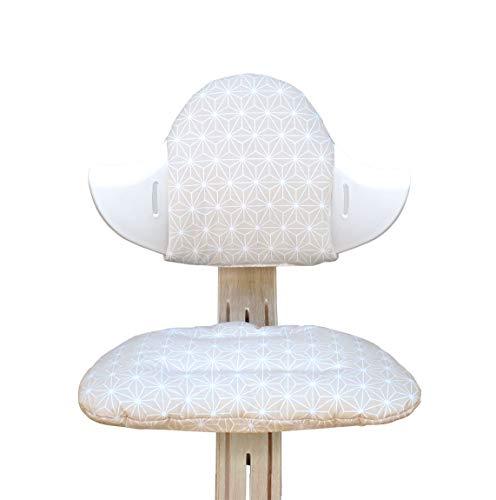 Blausberg Baby - BESCHICHTET - Sitzkissen Set für Nomi Hochstuhl von Evomove - Happy Star Beige