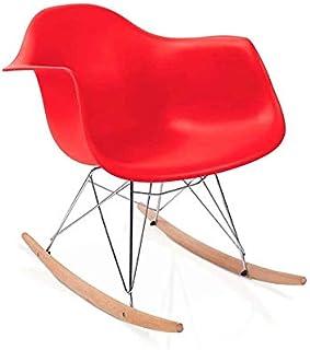duehome Rocker - Silla Mecedora, Color Rojo y Madera Haya, sillas balancin, Silla diseño nórdico, Medidas: 69,5 cm Alto x 63 cm Ancho x 65,5 cm Fondo