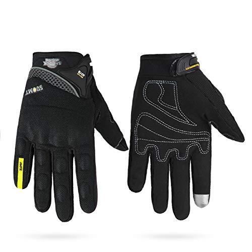 Guantes Antideslizantes Deportivos Motorcycle Gloves Men 100% Waterproof Windproof Winter Moto Gloves Motorbike Touch Screen Riding Gloves XXL Su-09Black Entrega Rápida Y Gratuita