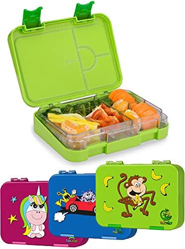TAKWAY Kinder Bento Box mit Fächern grün | Brotbox mit Unterteilung variabel 4 oder 6 Fächer | Brotdose mit Fächern Kindergarten Schule KiTa | Jausenbox mit Unterteilung Kinder