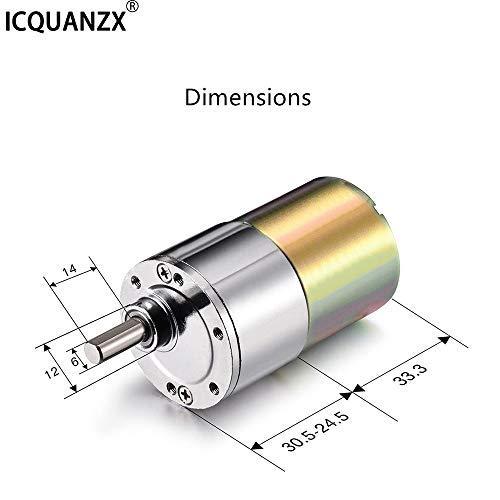ICQUANZX DC-Getriebemotor 12V 200R, drehmomentstark, elektrisch, Mikrodrehzahlreduzierung, Getriebemotor mit zentrischem Ausgangswellendurchmesser, Getriebe