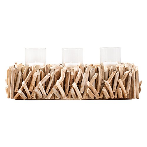 riess-ambiente.de Elegantes Windlicht FOSSIL Treibholz Kerzenhalter Massivholz Kerzenhalter 3er Kerze