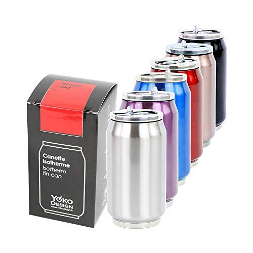 Yoko Design Canette Isotherme Double Paroi en Acierydable, sans BPA, Gourde réutilisable éco-responsable pour Eau, Sport, Enfant, Bureau, Voyage, Gris (Inox), 280/500/700 mL