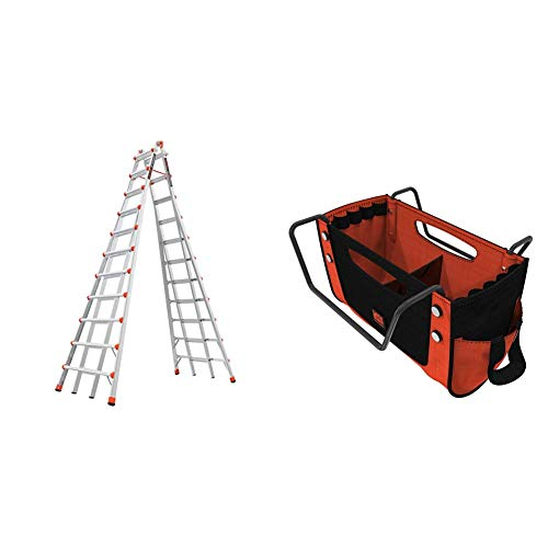 Little Giant Ladders, Skyscraper, M21, 11-21 Foot, Stepladder, Aluminum, Type 1A, 300 lbs Weight Rating, (10121) & Giant Ladders, Cargo Hold, Ladder Accessory, Fabric, (15040-001)