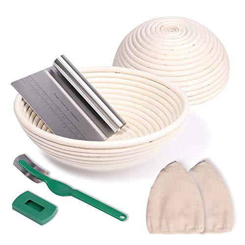 NZQXJXZ Gärkörbchen 2er Set rund Ø 25 cm und 22cm inkl Teigschaber und Leinensatz, Gärkorb aus natürliche Peddigrohr für selbstgemachtes Brot - nachhaltig Zero Waste