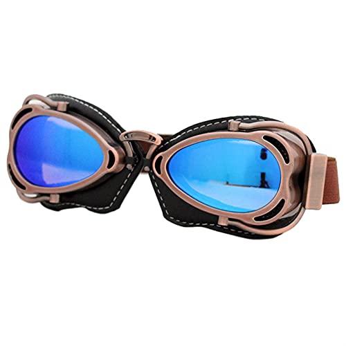 Gafas Moto,Moto Gafas Casco de gafas de motocicleta retro Casco Steampunk Cobre Volar Moto Gafas Vintage Piloto Biker Gafas Gafas Equipo protector Gafas Motocross (Color : Googles 1)
