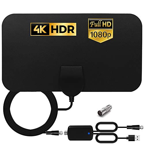 HCCH Antenna TV Interna, Antenna per DTT DVB-T/DVB-T 2 per TV Digitale con Amplificatore Segnale, 120 Miglia Gamma Antenna Support 4K HD VHF UHF FM