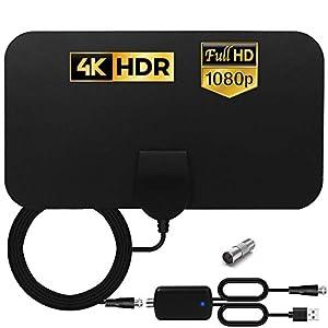 HCCH Antena TV Interior, Antena HDTV Digital de Alcance de 120 Millas con Amplificador Inteligente de Señal, para Canales de TV 1080P 4K VHF UHF Gratuitos para DVB-T DVB-T2