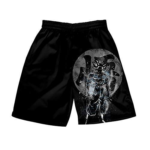 AMOMA Herren Freizeit Strandhose Anime Naruto Dragon Ball Digitaldruck Bademantel Kurze Shorts(L,Color18)