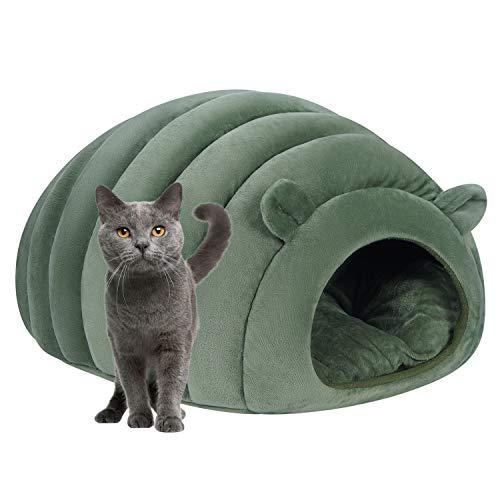 Caseta para gato caliente con forma de copa de cúpula suave cama de gatito, perro, cama de nido interior para animales de compañía, saco de dormir con cojín extraíble para cachorros pequeños animales