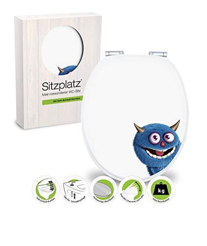 SITZPLATZ® WC-Sitz mit Absenkautomatik, lustiges Dekor Monster Ecky, Toilettensitz mit Holzkern & Fast Fix Schnellbefestigung, universale O Form, Metallscharnieren, Toilettendeckel witzig, 40276 7