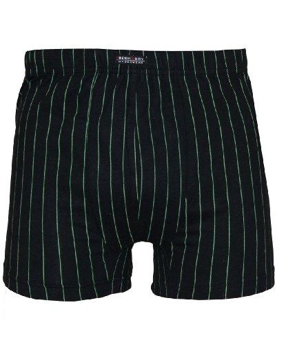 Tobeni 4 bât rétro caleçon avec de Fines Rayures de différentes Couleurs et Tailles, Couleur:Noir-Vert;Size:7/XL