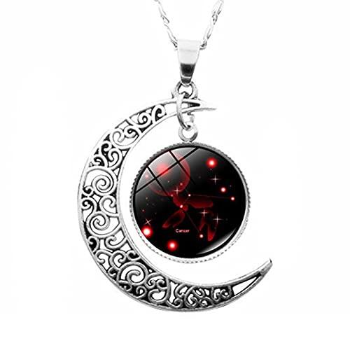 PANGKII Creative 12 Constellation Crescent Time Gemstone Necklace Unique Design - - M