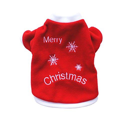 Cosanter Hund Pullover Mantel Weihnachten Wintermantel Herbst und Winter warme Samt Kleidung gestickte Kleider für Kleiner Hunde Welpen Größe L