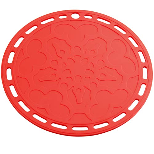 Smithcraft Big Round Silicone Trivets Mats Set of 3 Table Placemats Pot Holder Hot Pad Multi-Purpose Use and Many Colors for Choose (Red)