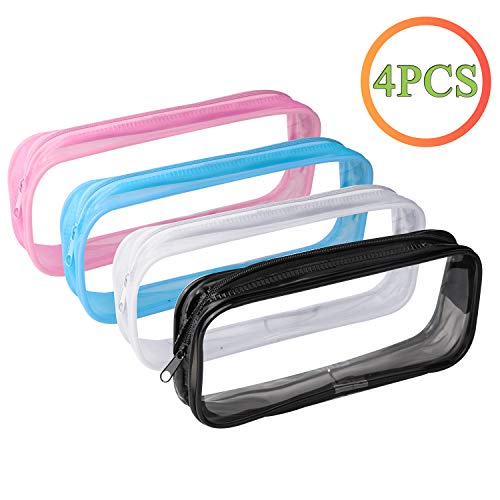 yiwoo 4 Pieces Clear PVC Zipper Pen Pencil Case,Clear Travel Toiletry Bag(Black, White, Blue, Pink)