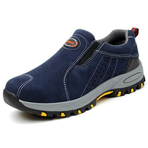 Zapatos de Seguridad para Hombre Zapatilla de Trabajo Sin Cordones Anti-punción Calzado de Protección S3,Azul,43EU