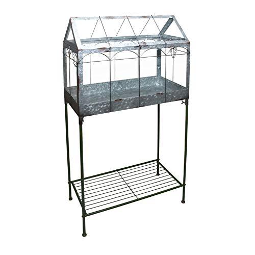 Esschert Design Invernadero con soporte, 114 cm, metal y cristal, decoración de...