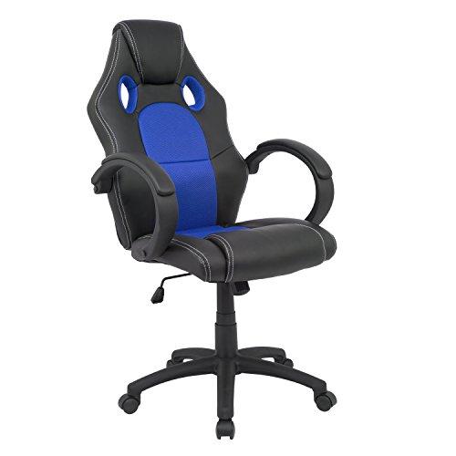 Cashoffice - Silla Racing - Silla Gaming - Silla Gamer - Silla Ordenador Ergonomica - Silla de Oficina - (Azul)