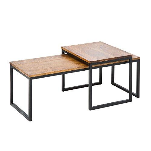 Riess Ambiente 2er Set Couchtisch Elements 100cm Sheesham Metallgestell Beistelltische Satztische Tischset Wohnzimmertisch