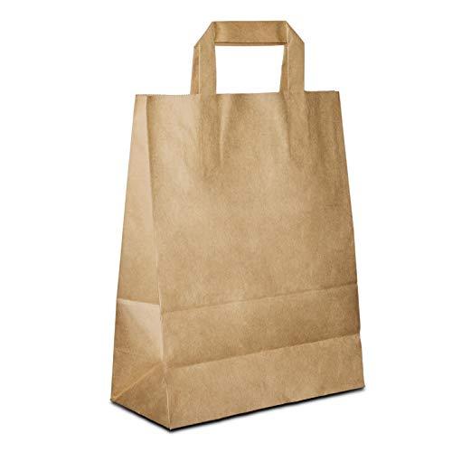 50 x Papiertüten braun 18+08x22 cm | stabile Kraftpapiertüten | Taschen Flachhenkel | Papiertaschen klein | Tragetaschen Papier | HUTNER