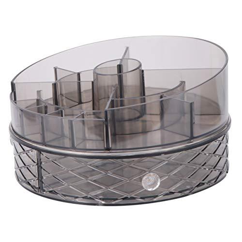 Cabilock Maquillage Acrylique Organisateur Rotatif Double Couche Comptoir Support de Rangement Cosmétique Grande Capacité Boîte de Maquillage Gris