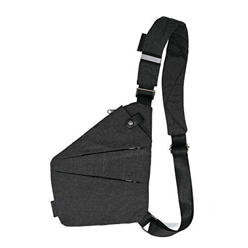 TOLOG Sling Bag Fashion Digital Silm Shoulder Bag Men Multi-functional Crossbody Backpack Anti-theft Gun Chest Bag (Right Hand)