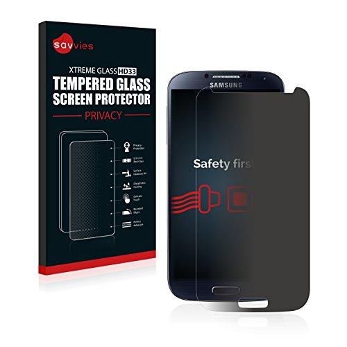 savvies Protector Cristal Templado Privacidad Compatible con Samsung Galaxy S4 Protector Pantalla Vidrio - Dureza 9H, Anti-Espía