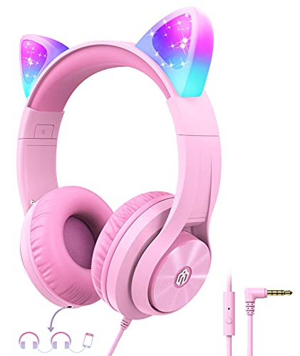 iClever Kids Headphones for Girls Gift Over Ear Headphones with Microphone/Shareport, Wired Cat Ear Led Light Up Headphones,94dB Volume Limited, Foldable Headphones for Kids Girls Birthday Gifts/School/iPad/Kids Tablet/Travel Pink