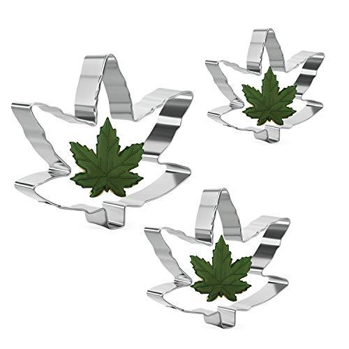 Marihuana Blatt Ausstechform Set - 3 Stück - Cannabis Hanf Unkraut Ahorn geformte Blattkeksformen Fondant Cutter Gebäckform - Rostfreier Stahl