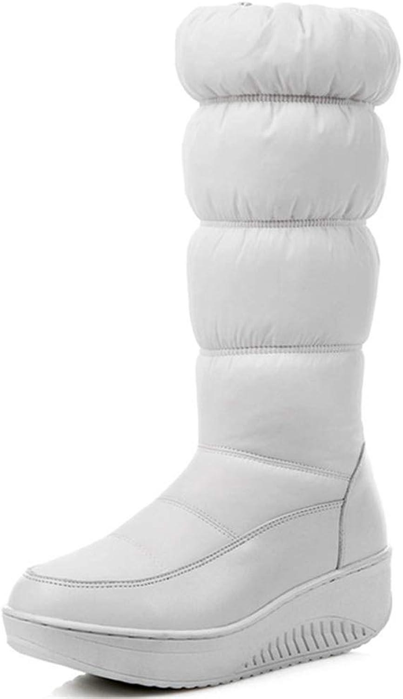 T-JULY Winter Fashion Women Mid Calf Boots Platform Waterproof Ladies shoes