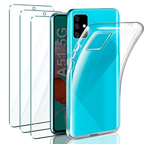Leathlux Cover Compatibile con Samsung Galaxy A51 5G Trasparente con 3 Pellicola Vetro Temperato, Morbido Silicone Protettivo Bumper TPU Gel Smartphone Custodia Case