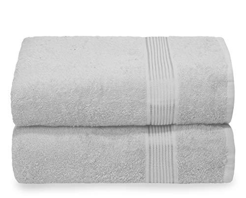 GLAMBURG Baumwolle 2er-Pack Oversized Badetuch-Set 70 x 140 cm, große Badetücher, Ultra saugfähig, kompakt, schnell trocknend und leicht, Hellgrau