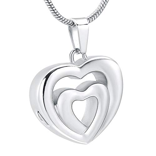 KXBY hanger as as doos voor sieraden als aandenken / trechter hanger van roestvrij staal met dubbel hart, houdt as van gestorven en zilver voor huisdieren