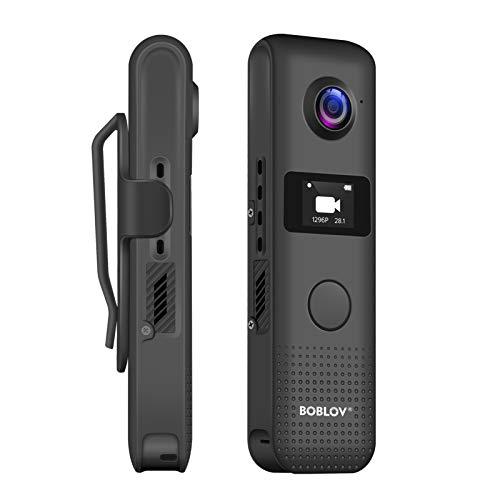 BOBLOV C18 Cámara de cuerpo WiFi 1080P con pantalla OLED y un botón grande para grabación de 4 horas 1080P Clip para portátil