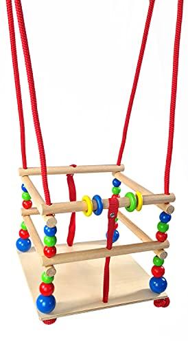 Hess Holzspielzeug 20000 - Gitter-Schaukel aus Holz mit Sprossen, bunten Perlen und Ringen, handgefertigt, für Babys ab 12 Monaten, Schaukelvergnügen im Haus, Garten und auf der Terrasse