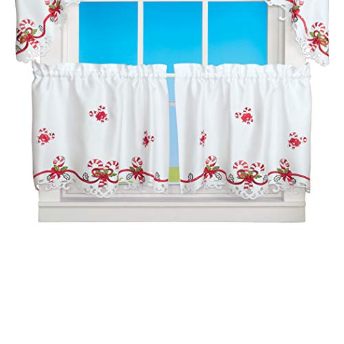 Collections Etc Embroidered Candy Cane Window Curtains with Rod Pocket Top - Holiday Home Decor for Any Room